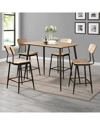 Furniture of America Cairo Industrial 5-piece Dining Table Set (Natural)