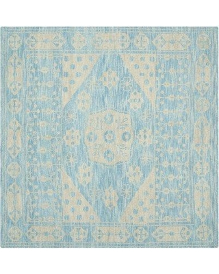 Mistana Maffei Hand-Knotted Wool Light Blue Area Rug MITN2179 Rug Size: Square 7'