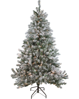 Northlight 72 in. Pre-Lit Flocked Balsam Pine Artificial Christmas Tree with Clear Lights