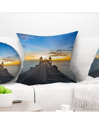 """East Urban Home Sea Bridge Long Wood Pier Leading to Colorful Sea Pillow VOIN7624 Size: 16"""" x 16"""" Product Type: Throw Pillow"""
