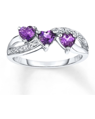 Amethyst Ring Diamond Accent Sterling Silver