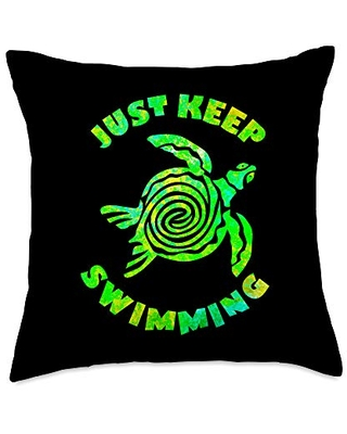 MathWare Funny Sea turtle Just keep Swimming Ocean Beach Vacation Throw Pillow, 18x18, Multicolor