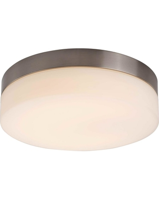 Rockies Containers 1-Light Integrated LED Flush Mount Ceiling Light in Brushed Nickel