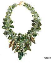 Handmade Fashion Floral Bouquet Stone and Shell Tapered Necklace (Green)