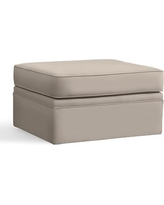 Pearce Slipcovered Ottoman, Polyester Wrapped Cushions, Performance Twill Stone