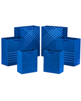 """Hallmark Blue Gift Bags in Assorted Sizes (Pack of 6: 2 Medium 9"""", 2 Large 11"""", 2 Extra Large 14"""") for Hanukkah, Christmas, Birthdays, Graduations, Fathers Day, Baby Showers, Bridal Showers, Weddings"""