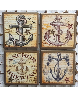 Anchor coasters with gold trim