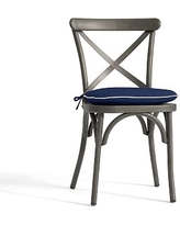Bistro Chair and Barstool Cushion - Sunbrella(R) Cobalt + Natural Piping
