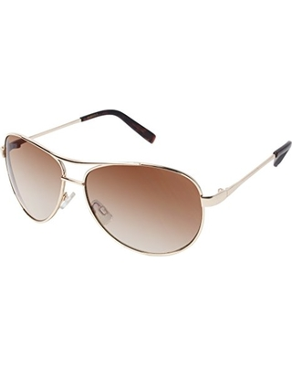 Jessica Simpson Women's J106 Gld Aviator Sunglasses, Gold, 56 mm