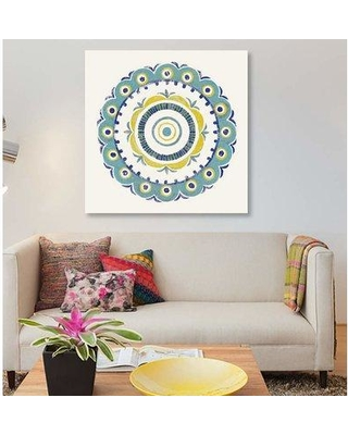 """East Urban Home 'Lakai Circle II Blue And Yellow' By Kathrine Lovell Graphic Art Print on Wrapped Canvas ETRC6996 Size: 18"""" H x 18"""" W x 0.75"""" D"""