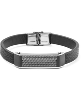 Men's Black Faux Leather and Stainless Steel Cable Inlayed ID Plate Bracelet (Black - White - 8.5 Inch)