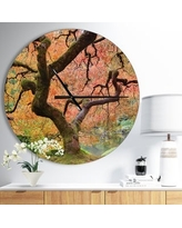 Shop Deals On Designart Path To Sunlight In Autumn Forest Oversized Traditional Wall Clock 23 In Wide X 23 In High