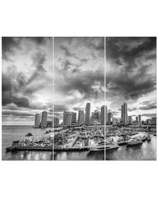 East Urban Home 'Miami Sunset Skyline' Photographic Print Multi-Piece Image on Wrapped Canvas FCIV5656