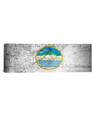Phenomenal Deals On Flags Staten Island Map Panoramic Graphic Art On Wrapped Canvas Winston Porter Size 12 H X 36 W X 1 5 D