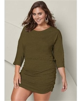 """Plus Size Ruched Detail Dress Dresses - Green"""