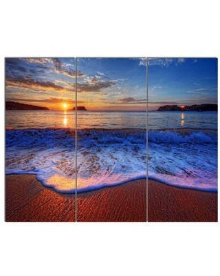 Design Art 'Blue Waves on Sandy Beach' 3 Piece Photographic Print on Wrapped Canvas Set, Canvas & Fabric in Brown/Blue | Wayfair PT14650-3P