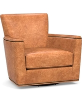 Irving Square Arm Leather Swivel Rocker with Bronze Nailheads, Polyester Wrapped Cushions, Leather Statesville Caramel