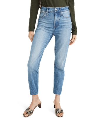 Women's Madewell The Perfect Vintage Raw Hem Jeans, Size 24 - Blue