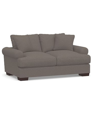 """Sullivan Deep Roll Arm Upholstered Loveseat 74"""", Down Blend Wrapped Cushions, Performance Brushed Basketweave Charcoal"""