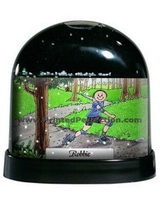 The Holiday Aisle Friendly Folks Cartoon Caricature Male Rollerblading Snow Globe X111763281 Customize: Yes