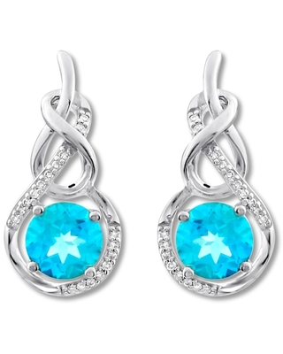 Jared The Galleria Of Jewelry Blue Topaz Earrings 1/15 ct tw Diamonds Sterling Silver