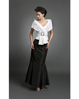 Alexander by Daymor - 1033 Taffeta Trumpet Gown with Faux Wrap Jacket