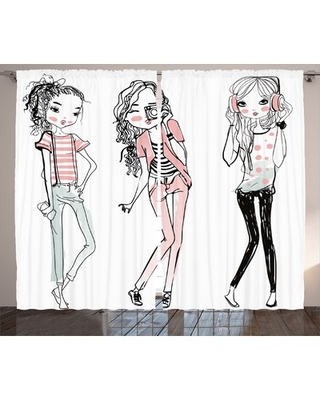 Rasheed Fashion House Sketch of Cute Cartoon Elegant Girls with Makeup Clothes Illustration Image Graphic Print & Text Semi-Sheer Rod Pocket Curtain P