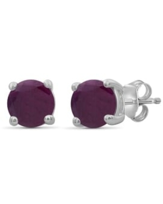 JewelonFire 4.00MM Round Gemstone Stud Earrings in Sterling Silver - Assorted Styles (White - Ruby)