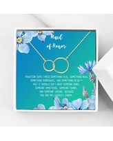 Anavia Maid of Honor Necklace Gift, Maid of Honor Sister Gift, Maid Of Honor Card for Girls, Wedding Gifts Jewelry Necklace-[Gold Infinity Double Ring, Bright Blue Gift Card]