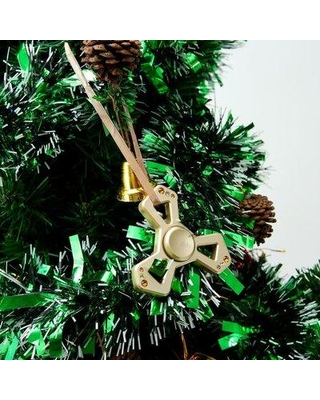 MatashiCrystal Christmas Tree Triangle Spinner with Crystal Shaped Ornament MTSP3147 Color: Gold