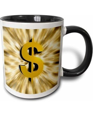 East Urban Home Dollar Sign Features a Large Golden Coffee Mug W001188859