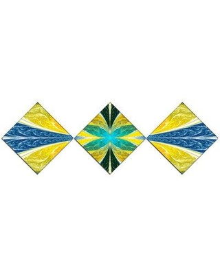 East Urban Home 'Yellow Fractal Stained Glass' Graphic Art Print Multi-Piece Image on Canvas URBR1800