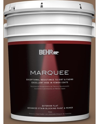 BEHR MARQUEE 5 gal. #bnc-34 Spiced Latte Flat Exterior Paint and Primer in One