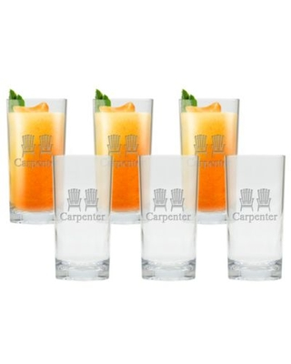 Carved Solutions Adirondack Chair Clear High Ball Glasses (Set of 6)