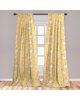 Ambesonne Yellow Curtains, Childish Doodle Style Composition With Hearts And Flowers Romantic Valentines Day, Window Treatments 2 Panel Set For Living