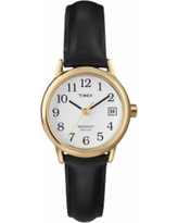 Timex Women's Leather Watch - T2H341, Size: Small, Black