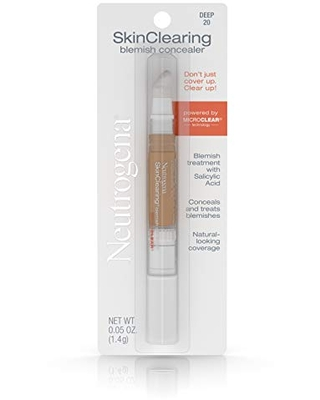 Neutrogena SkinClearing Blemish Concealer Face Makeup with Salicylic Acid Acne Medicine, Non-Comedogenic and Oil-Free Concealer Helps Cover, Treat & Prevent Breakouts, Deep 20.05 Oz