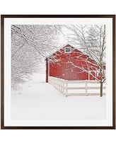 """Red Barn in the Snow by Cindy Taylor, 25 x 25"""", Wood Gallery, Espresso Mat"""