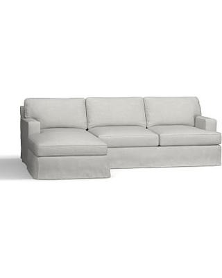 Townsend Square Arm Slipcovered Right Chaise Sofa Sectional, Polyester Wrapped Cushions, Basketweave Slub Ash