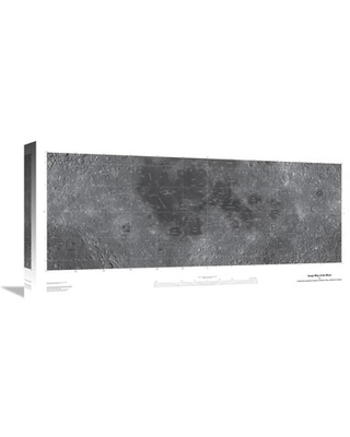"'Map of the Moon, Projection' Graphic Art Print on Canvas East Urban Home Size: 12"" H x 24"" W x 1.5"" D"