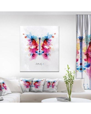 """East Urban Home 'Monotype Colorful Butterfly' Watercolor Painting Print on Wrapped Canvas ETUC0155 Size: 40"""" H x 30"""" W x 1.5"""" D"""
