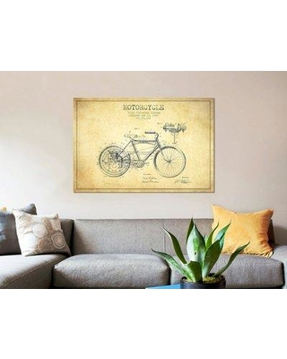 """East Urban Home 'Floyd Bingham Motorcycle Patent Sketch' Graphic Art Print on Canvas in Beige ERBR0075 Size: 40"""" H x 60"""" W x 1.5"""" D"""