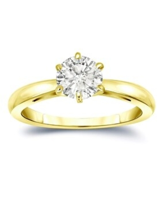 Auriya 14k Gold 1ctw Round Solitaire Diamond Engagement Ring 6-Prong (Yellow - 9.5)