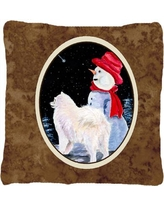 East Urban Home Samoyed and SnowmanIndoor/Outdoor Throw Pillow EAAS5793