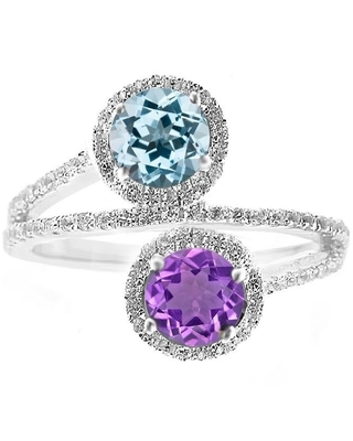 Sterling Silver with Natural Sky Blue Topaz, Amethyst and White Topaz Bypass Halo Ring