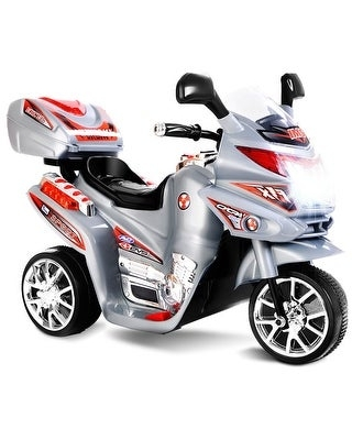 Costway 3 Wheel Kids Ride On Motorcycle 6V Battery Powered Electric (Grey - Assembly Required - 5-7 Years)