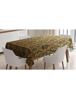 East Urban Home Vintage Times Classic with Floral Leaf Like Artwork PrintTablecloth FCLQ8632