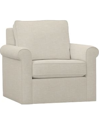 Cameron Roll Arm Upholstered Swivel Armchair, Polyester Wrapped Cushions, Textured Basketweave Flax