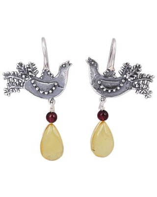 Sterling Silver Bird Drop Earrings with Amber and Garnet