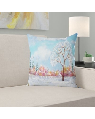 """Watercolor Painting Landscape Printed Tree Pillow East Urban Home Size: 18"""" x 18"""", Product Type: Throw Pillow"""